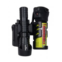 Double Swivelling Holster For Flashlight And Spray
