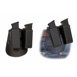 Double Swivelling Plastic Holster For Two Magazines With Belt Paddle